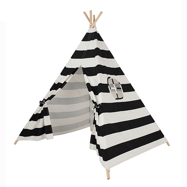 Black u0026 White Striped Cloth Play Tent Teepee w/Carrying Case  sc 1 st  Riley Roux LLC & Black u0026 White Striped Cloth Play Tent Teepee w/Carrying Case ...