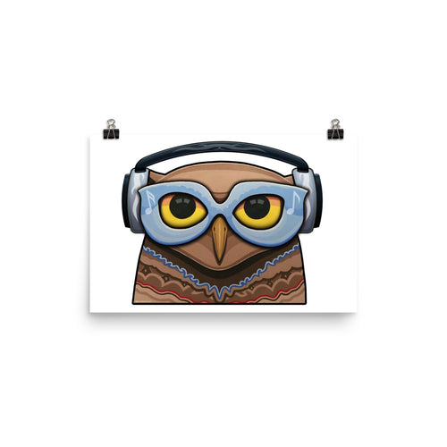 Glasses Owl with Headphones Poster
