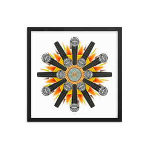 Stage Mic Explosion Framed Poster