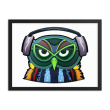 Colorful Owl with Headphones Framed Poster