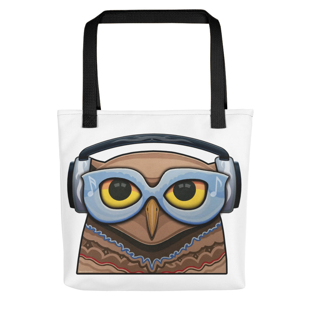 Glasses Owl with Headphones Tote Bag