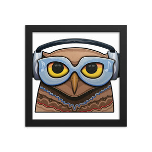 Glasses Owl with Headphones Framed Poster