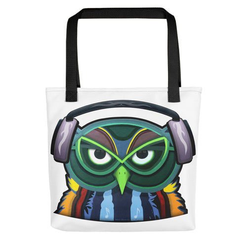 Colorful Owl with Headphones Tote bag