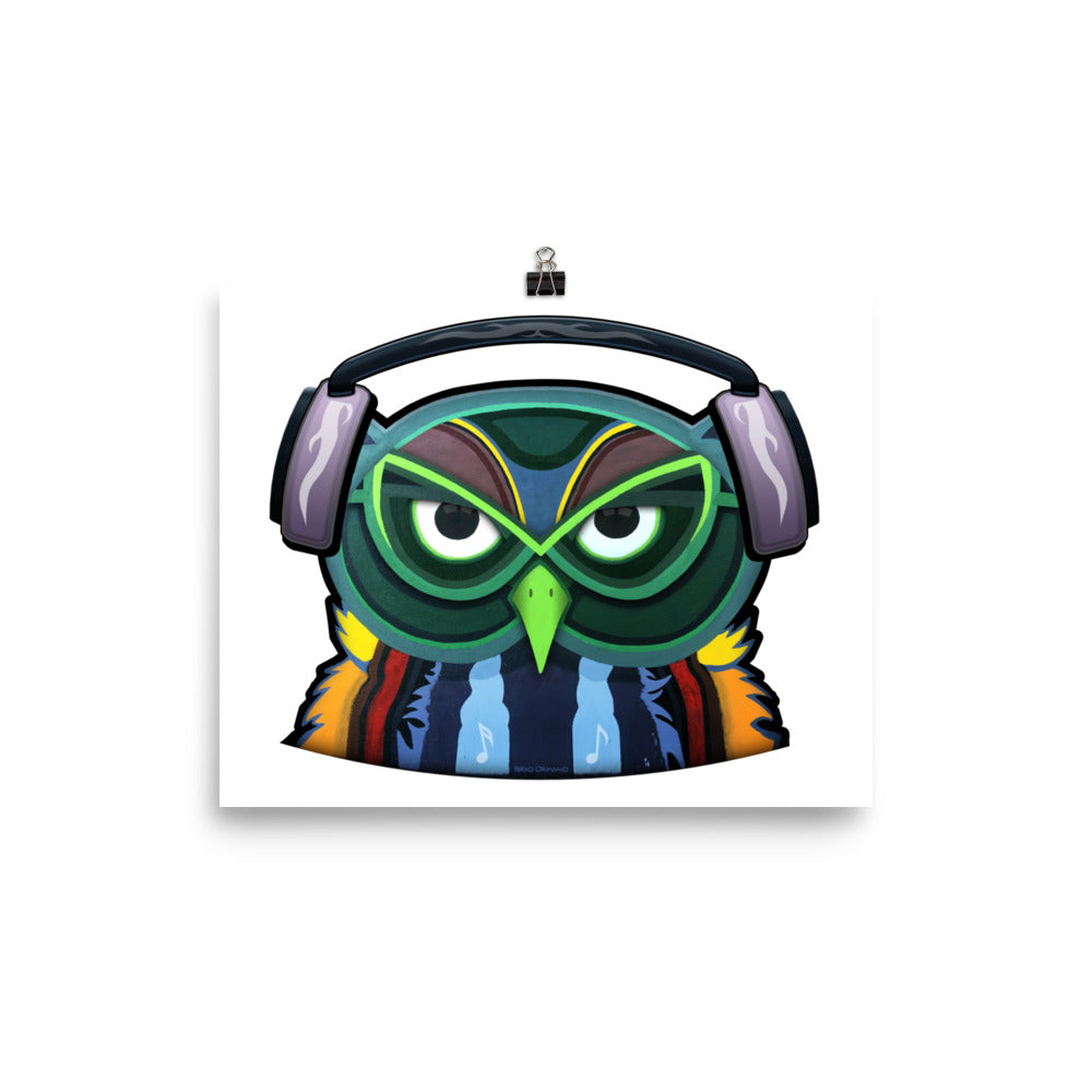 Colorful Owl with Headphones Poster