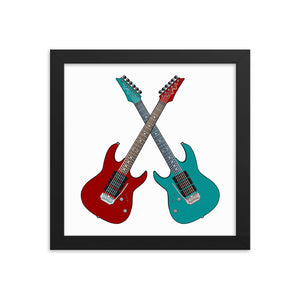 Twin Guitars Framed Poster