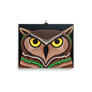 Serious Owl Painting Print