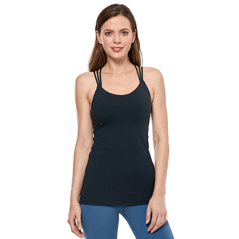 Strappy Back Tank With Built in Shelf Bra