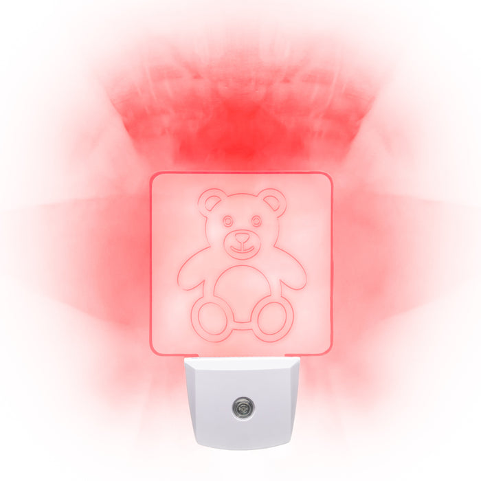 Red LED Night Light [Package of 2] - Teddy
