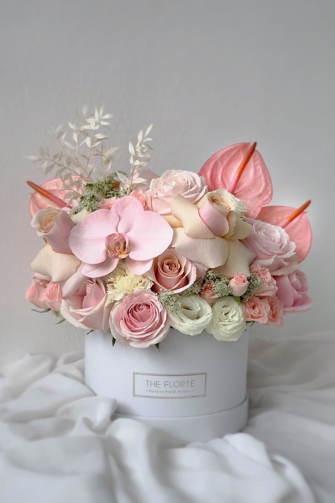The Florté Florte | Blush Meadow, Bloom Box, Anthuriums, Phalaenopsis Orchids, Wabara, Mother of Pearl, Peeled back Roses, Blush Peach Pink Premium, Best Flowers Singapore, Best Florist Singapore, Best Online Florist