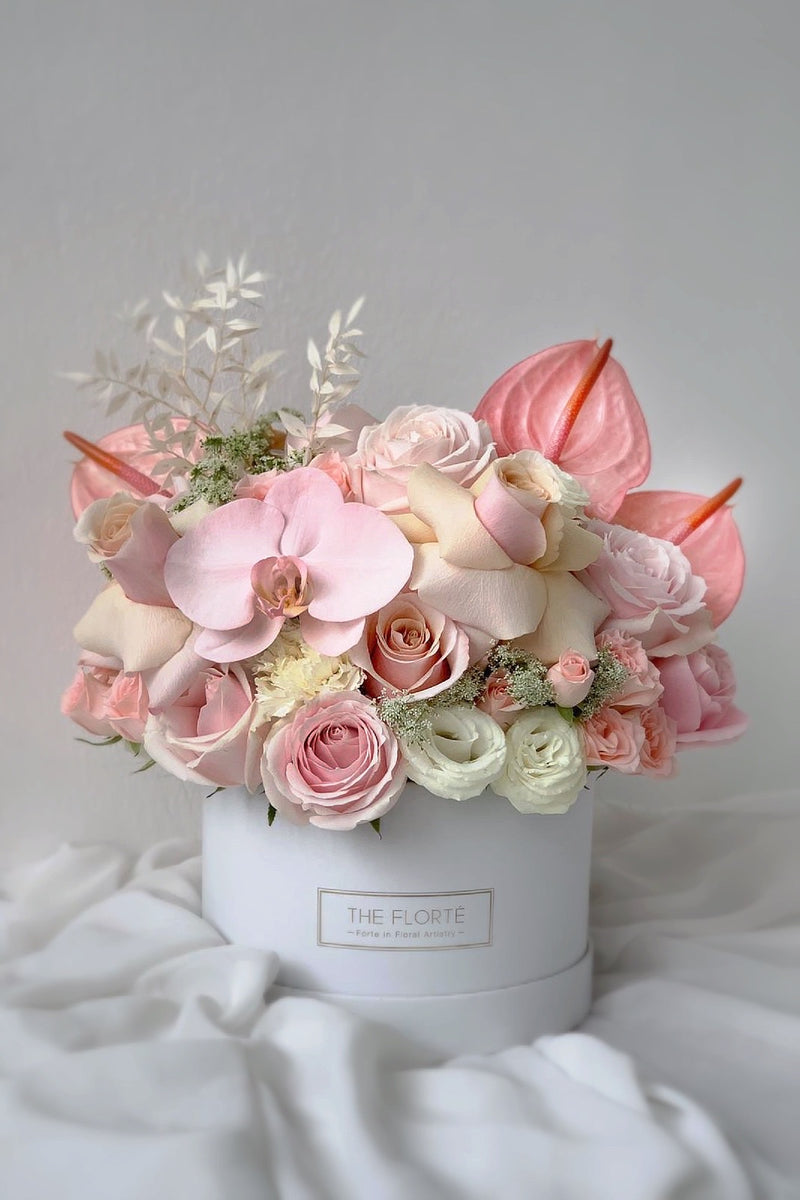 The Florté | Sweet Surprise, Pink, Peach, Blush, White Bloom Box, Sweet, Lovely, Lush
