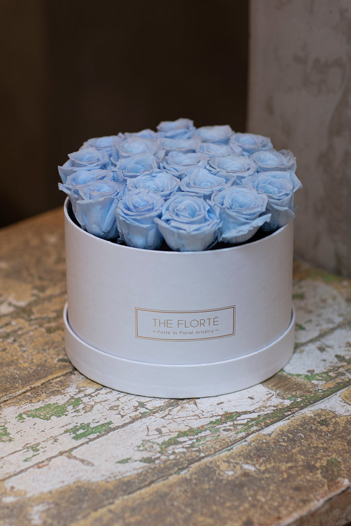 The Florté | Roses only, Round Bloom Box, 25 Roses, Red, White, Cream, Pink, Purple, Blue, Preserved Rose, Forever Roses, Everlasting Roses