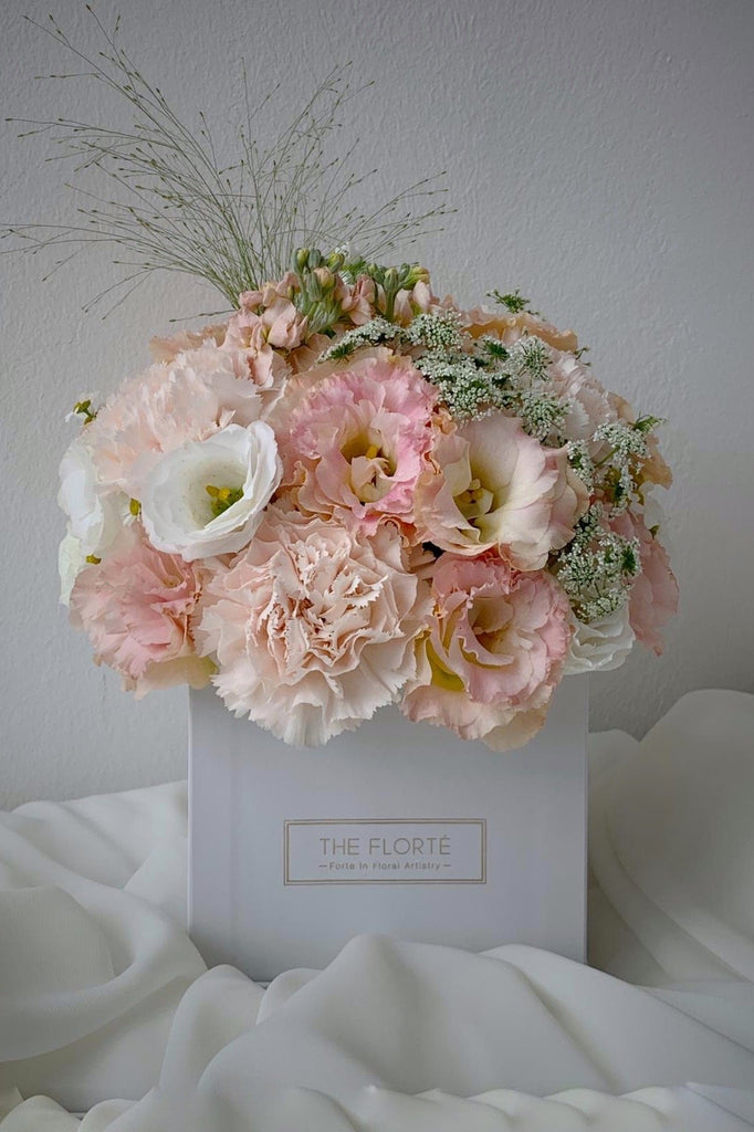 The Florté Florte | Ballerina, Bloom Box, Carnation, Roses, Hydrangea, Tulips, Blush Pink, Pastel Pink Blue White Yellow, Hot Pink, Pop of color, Petite Bloom Box Square