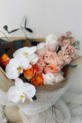 The Florté | La Flamingo, Bouquet, Pink, Blush, White, Dreamy, Creamy, Roses, Carnations, Anthurium, Flamingo, Blooms, Fleurdelis, Premium Flowers, Pastel, Signature wrap, Australian, Boutierre Girls, Fleur De Lis