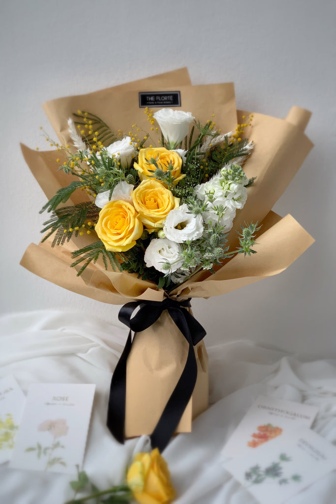 The Florté | Milk Butter, Bouquet, Yellow Flowers Roses Eustoma Mimosa, Kraft Wrap, Sunny, Sunshine, Bright, Premium Fresh Flowers, Affordable, Graduation, Cute, Kraft Wrap, Sunshine, Yellow, Cheerful, Cheer Up, Perk me up, Thank you, Gratitude, Cheerful