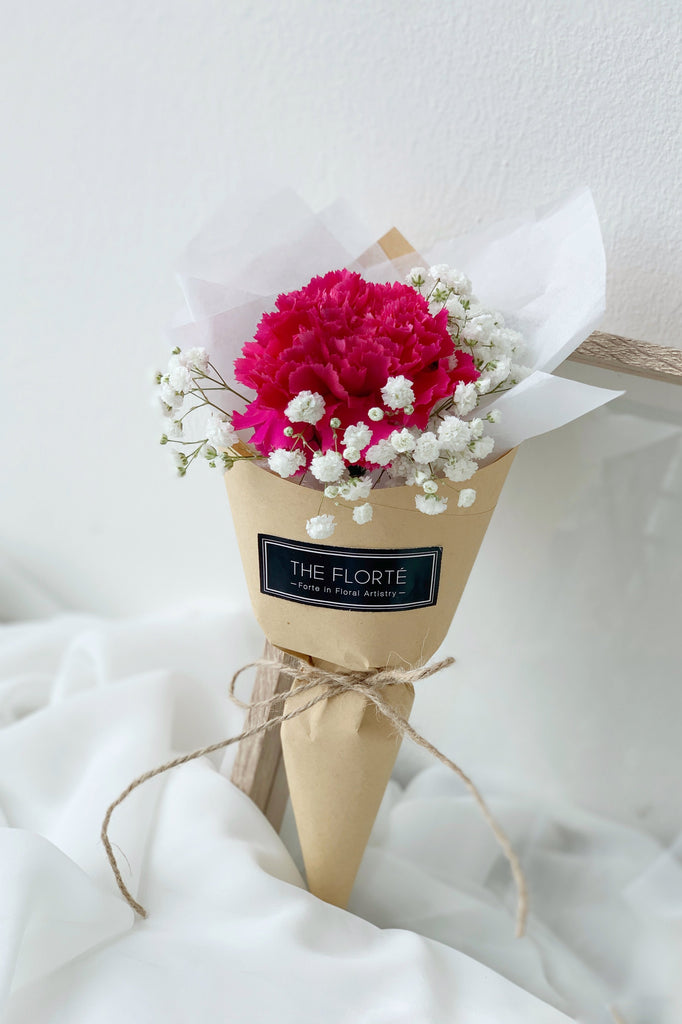 The Florté Florte | Appreciation, Carnation, Baby's Breath, Bouquet, Mother Mom Mum Mummy, Mother's Day, Posy, Teacher's Day, Mini Petite Bouquet, Pastel Posy, Blush Fuchsia Pastel Pink