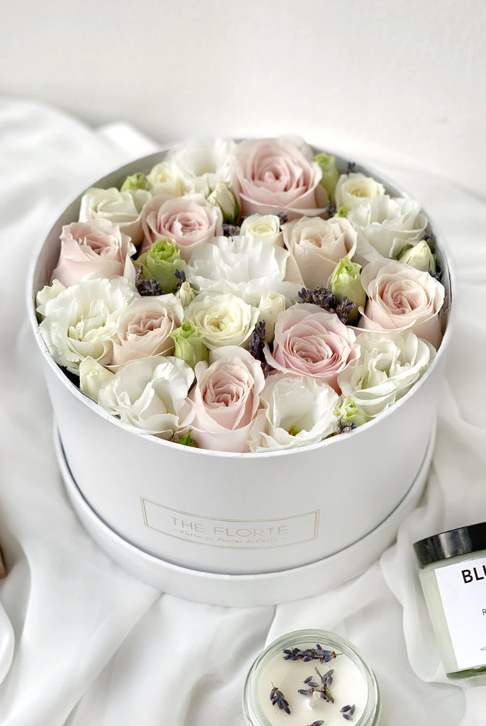 The Florté Florte | Buds & Blossoms, Bloom Box, Pink Rose, Blush, White, Lavender, Bloom in a Box, Best Flowers Singapore, Best Florist Singapore, Best Online Florist