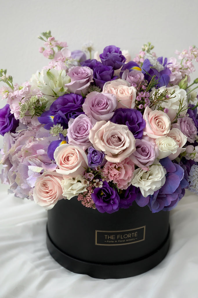 The Florté Florte | Cassis Bloom Box, Premium Large Grand Size, Purple Lilac Violet Lavender Plum Royal Playful, Roses Hydrangea Matthiola Eustoma Scabiosa, Best Flowers Singapore, Best Florist Singapore, Best Online Florist