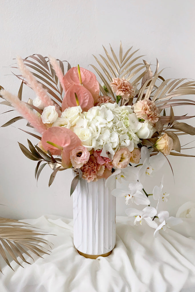 The Florte Florté | Peach Sorbet, Marble Vase, Anthuriums, Orchids, Phalaenopsis, Eustoma, Roses, Palm leaves, Pampas, Gold Champagne Blush arrangement, Australian, Congratulatory, Premium, Magic,