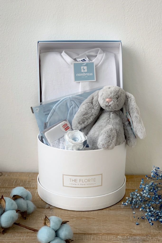 The Florté Florte | Le Petit Hamper, Bloom Box, Jellycat, Grey, Blue, Best Flowers Singapore, Best Florist Singapore, Best Online Florist, Preserved Rose