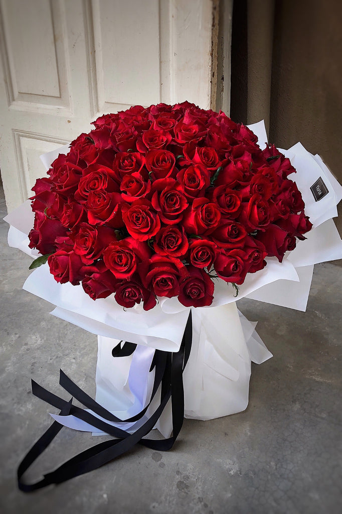 The Florté Florte | 99 Roses Forever & Always Bouquet, Red Kenya Rose, Premium Bouquet, Large Bouquet, Red Roses, 99 Roses, Premium Flowers, Best Flowers Singapore, Best Florist Singapore, Best Online Florist, Roses Only, Love