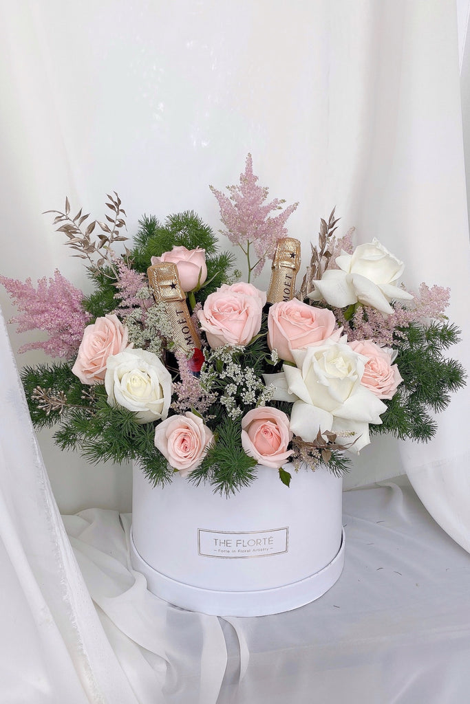 The Florté Florte | Celebration With Champagne, Bloom Box, Roses, Pink Roses, White Roses, Moet, Birthday Celebration Flowers, Best Flowers Singapore, Best Florist Singapore, Best Online Florist