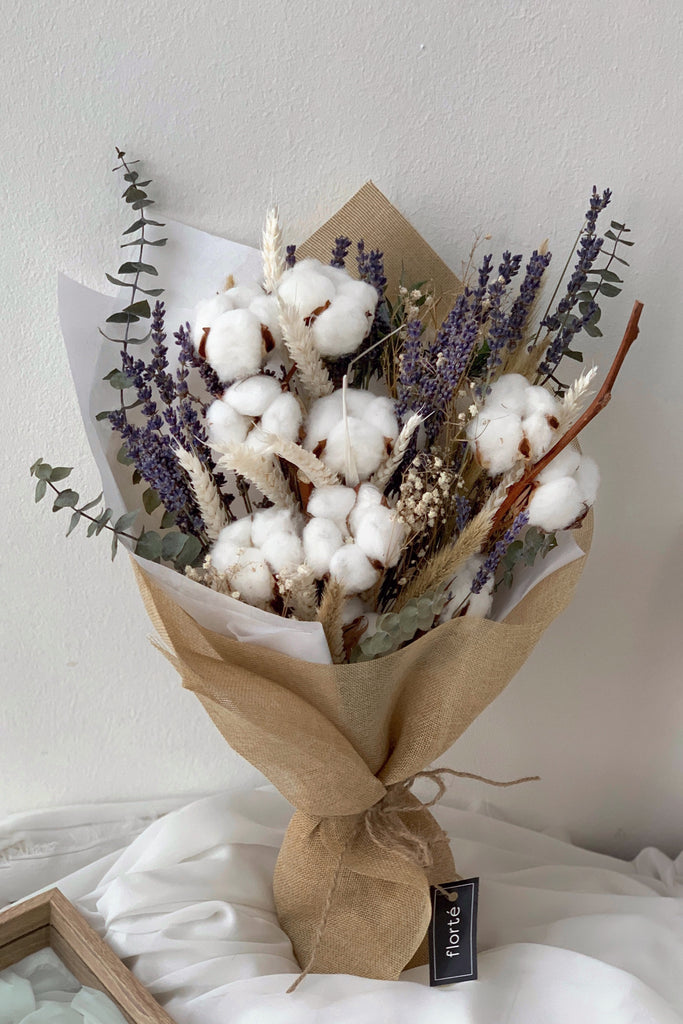 The Florté | Fluffy Cotton, Bouquet, Cotton Flowers, Lavender, Dried Flowers, Jute, Rafiaq String, Burlap, Twine