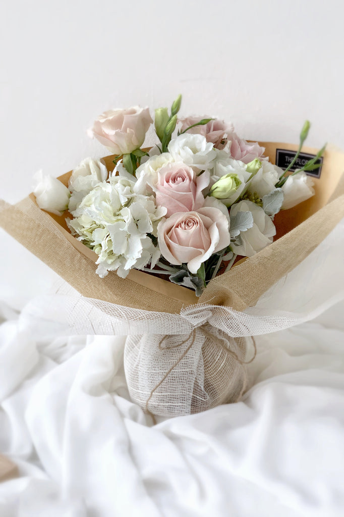 The Florté Florte | Blush Chic, Bouquet, Hydrangea, Rose, Menta Rose, Blush Pink, Dahlia, Best Flowers Singapore, Best Florist Singapore, Best Online Florist