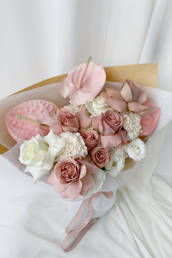 The Florté Florte | Cafe Creme Rosa, Bouquet, Blush Roses, Pink Anthuriums, White Roses, Best Flowers Singapore, Best Florist Singapore, Best Online Florist