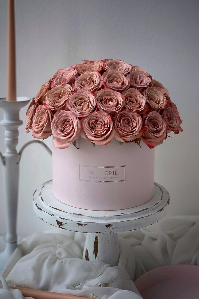 The Florté Florte | Blush Caramel Rosabella, Bloom Box, Cappuccino Rose, Best Flowers Singapore, Best Florist Singapore, Best Online Florist, Pink, Blush, Vintage, Rustic