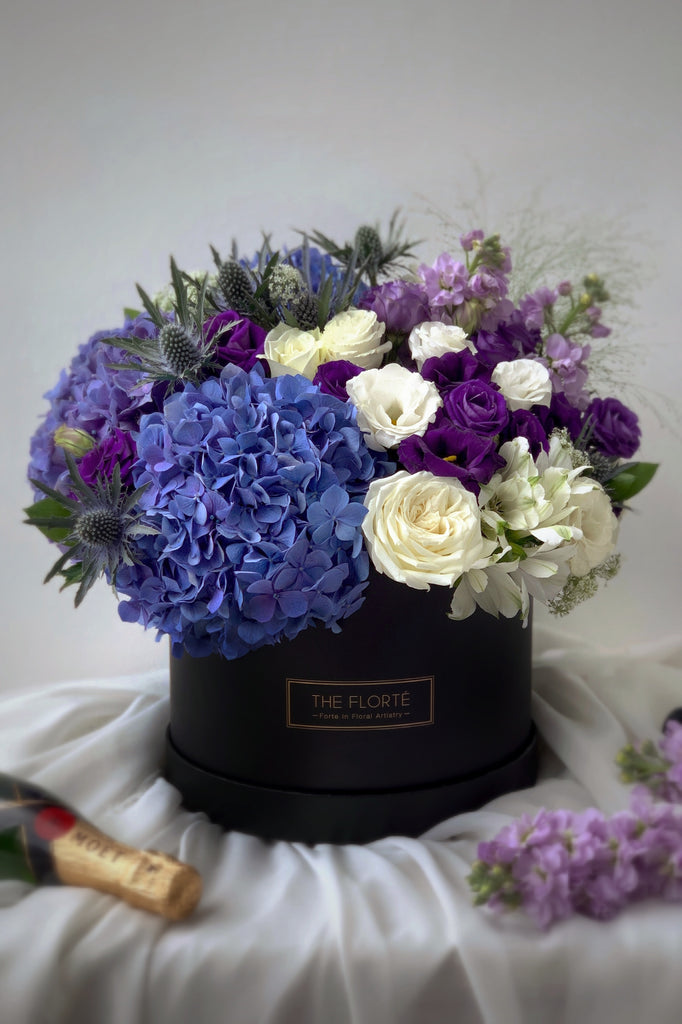 The Florté | Gentlemen, Bloom Box, Blue Hydrangeas, Purple Roses Eustomas, Thistle, Masculine, Royal, Broquet