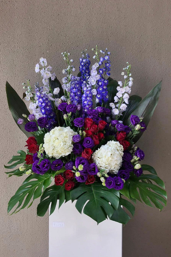 The Florté | Purple Pristine, Congratulatory Stand, Milestones, Grand Opening, Outstanding Entrance, Shop Opening Ceremony, Achievements, Prosperity, Prosperous, Auspicious, Fit for Royalty, Royal, Purple, Red, White, Lilac, Violet, Roses, Eustoma, Hydrangeas, Delphiniums