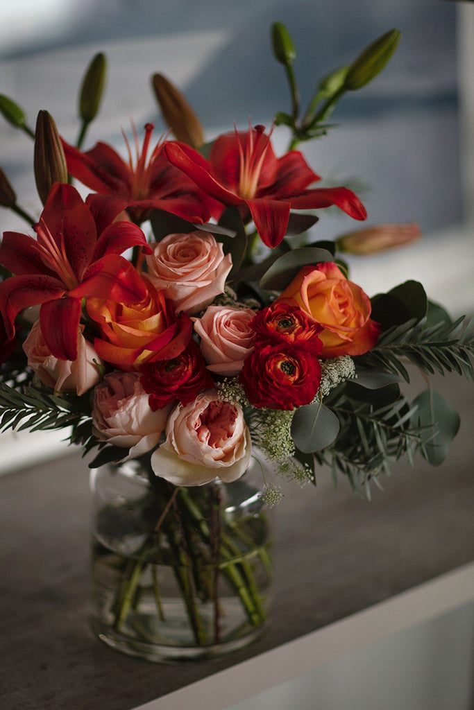 The Florté | Fragrant Lily, Table Vase, Orange Peach Roses, Olive, Bright, Vibrant, Premium Fresh Flowers