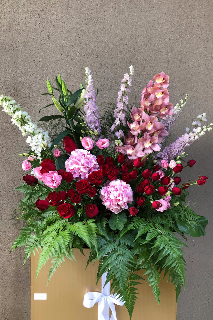 The Florté | Grand Heirloom, Congratulatory Stand, Purple, Lilac, Red, Pink, Orchid, Hydrangea, Roses, Delphinium, Milestones, Grand Opening, Outstanding Entrance, Shop Opening Ceremony, Achievements