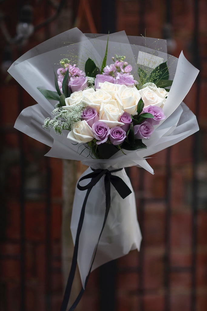 The Florté | Purple Paramour, Bouquet, Purple Lilac Ivory White Roses, Kenya Roses, Ocean Song, Ammi Maju, Queen Anne's Lace, Matthiola, Panicum, Classy Timeless Bouquet, Fresh Premium Luxury Flowers