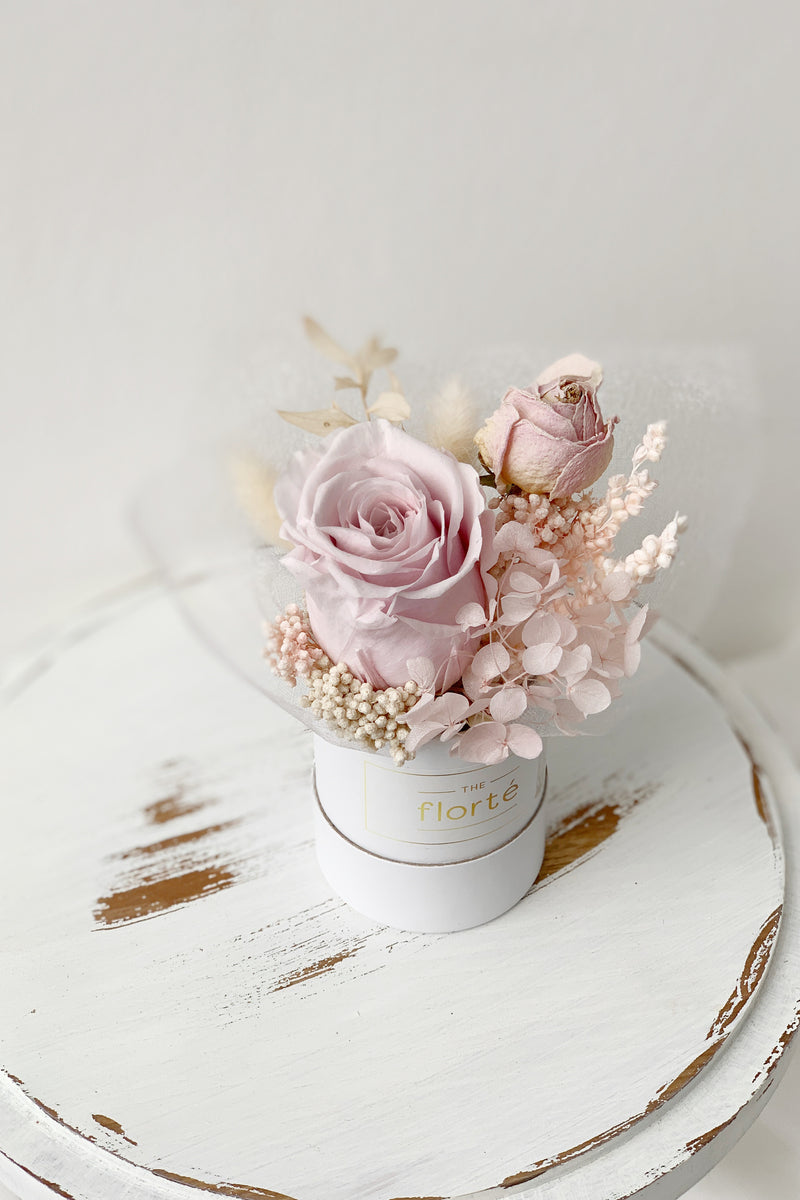 The Florté Belle Bijou, Petite Mini Tiny, Preserved Flowers Rose Hydrangea, Dried Flowers Rose, Bloom Box, Powder Light Baby Pink, Office Table Desk Decoration Display Beautifying, Cute Lovely Fluffy Bunny tail