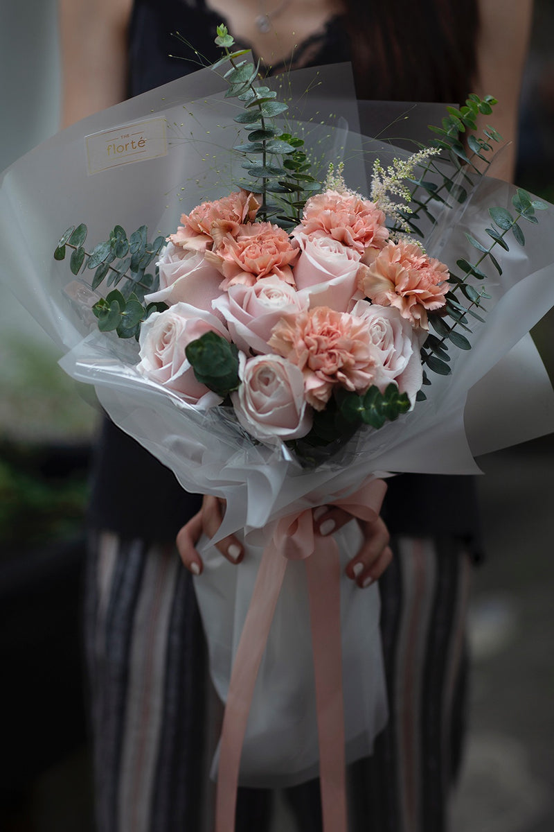 The Florté | Pretty in Pink, Bouquet, Rose, Carnation, Panicum, Astilbe, Eucalyptus, Pink, Blush, Pastel, Translucent Wrap, Modern Classy Ladylike Stylish Bouquet, Luxury Premium Fresh Flowers