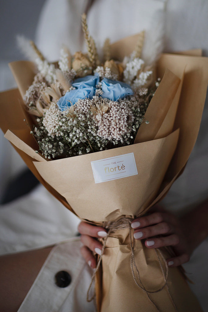 The Florté | Everlasting Love, Bouquet, Preserved Dried Roses, Rice Flower, Baby's Breath, Dried Flowers, Everlasting Forever Flowers