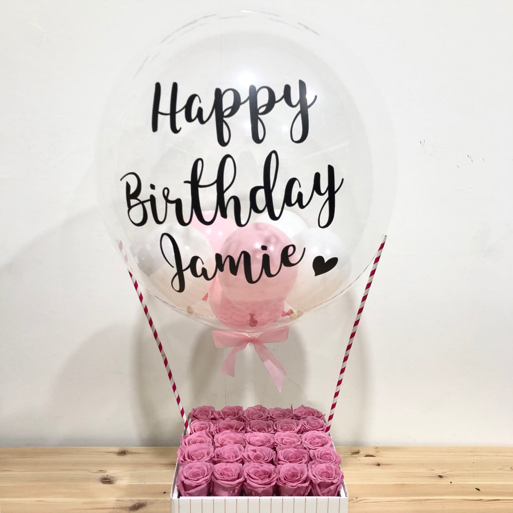 "The Florté | 24"" Customisable, Personalised, Balloon, Bloom Box, Pastel Balloon, Cheerful, Preserved Flowers, Bloom Box with Balloon, Petite Fleur"