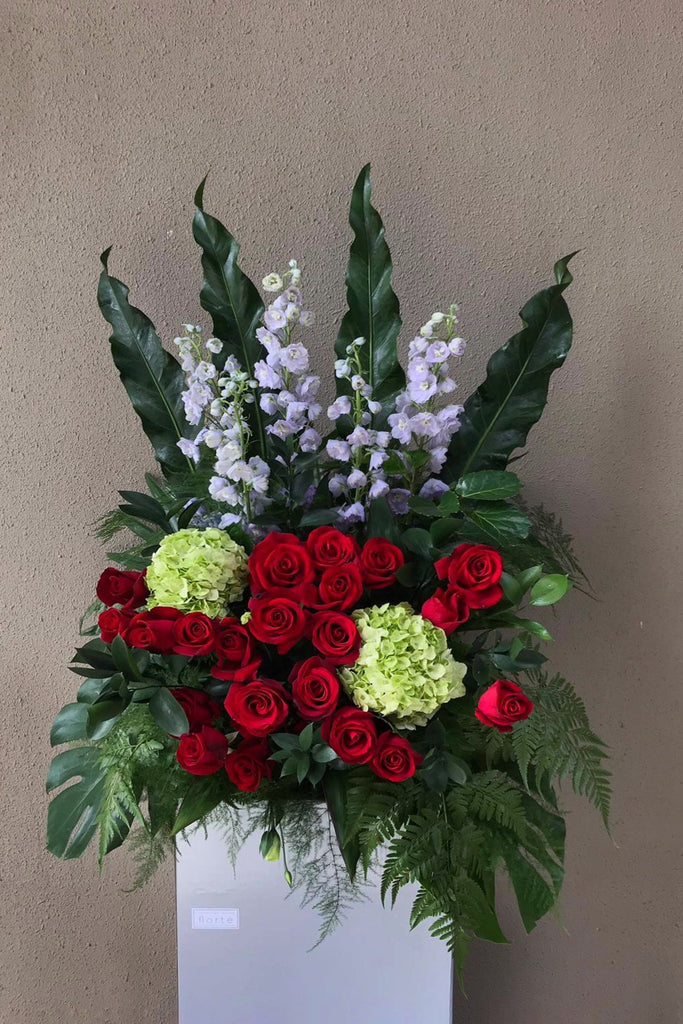 The Florté | Milestones, Congratulatory Stand, Green, Red, Lilac, Purple, Delphiniums, Roses, Hydrangeas, Grand Opening, Outstanding Entrance, Shop Opening Ceremony, Achievements