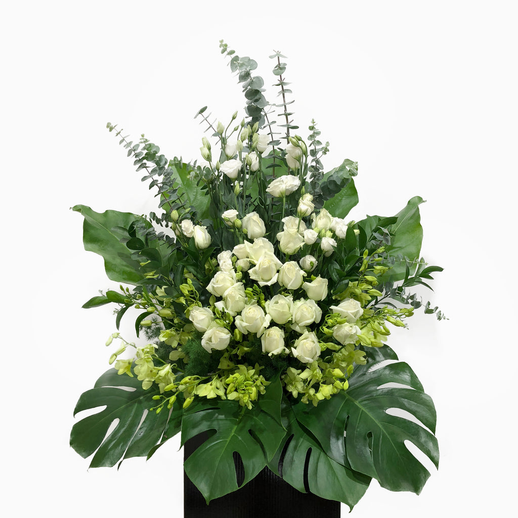The Florté | Strength, Condolences Stand, White Roses Orchid, Condolence Wreath, Funeral Flowers, For The Departed, Graceful, Distinguished, Sympathy, Respect, Solemness, Compassion, Funeral Wake Flowers