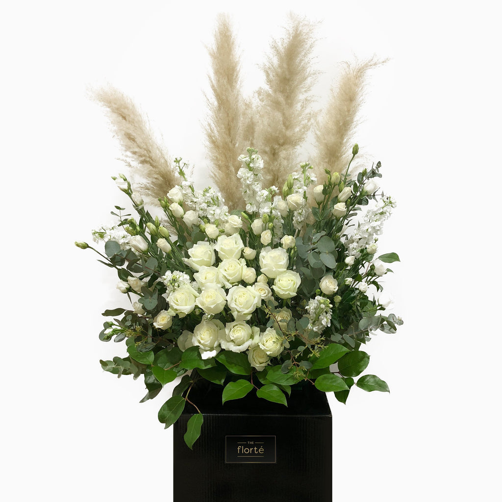 The Florté | Everlasting Peace, Condolences Stand, White Roses, Condolence Wreath, Funeral Flowers, For The Departed, Graceful, Distinguished, Sympathy, Respect, Solemness, Compassion, Funeral Wake Flowers