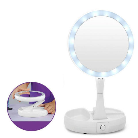 Folding LED Makeup Mirror