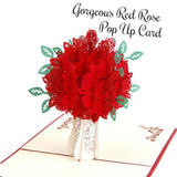 Gorgeous Red Rose Pop Up Card