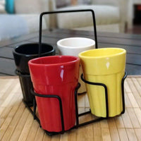 Unbreakable Cutting Chai Cups with Caddy