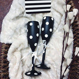 Unbreakable Black and White Champagne Flutes - Set of 2