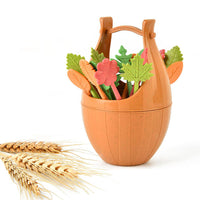 Wheat Straw Leaves Fruit Fork Set