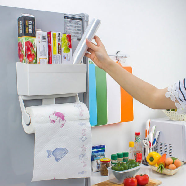 Tissue paper roll holder with storage rack