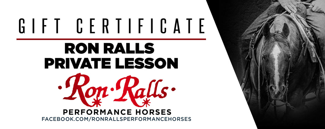 Gift Certificate Ron Ralls Private Lesson
