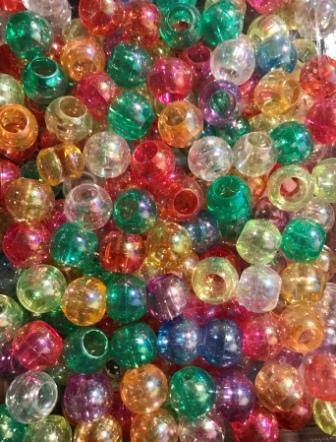 assorted color translucent hair beads with sheen