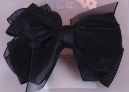 Layered Hair Bow - Black
